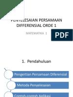 Penyelesaian Persamaan Differensial Orde 1