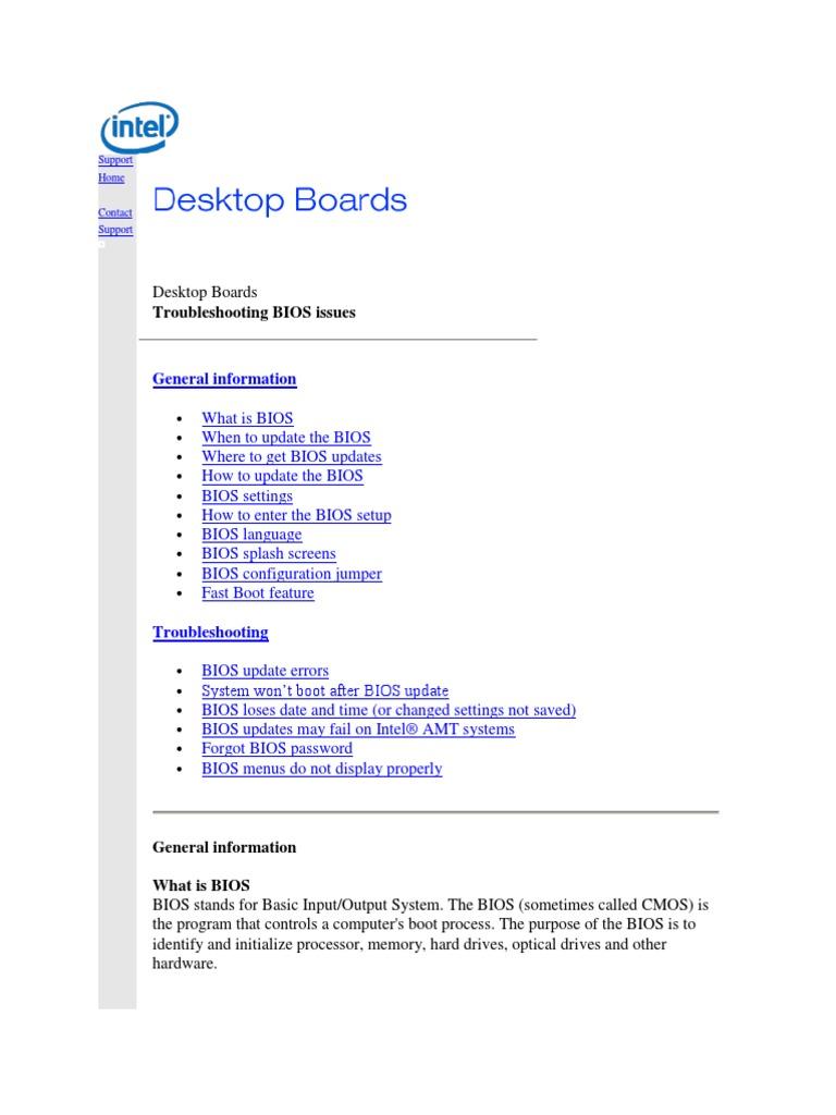 Troubleshooting Desktop Boards | Bios | Booting