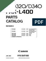 Canon Fax l400 d320 d340 Parts Catalog