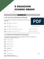 ESERCIZI Equazioni Di Secondo Grado