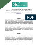 ARTE OU ESPETACULARIZAÇÃO OS DESAFIOS DA ESTÉTICA URBANA PARA PROMOVER A VIDA NOS ESPAÇOS URBANOS