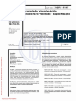 NBR 14197 - 1998 - Acumulador chumbo-ácido estacionário ventilado - Especificação