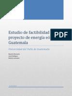 Estudio de factibilidad de proyecto de energía eólica en Guatemala