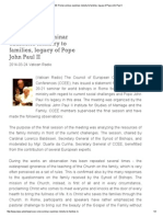 Rome Seminar Examines Ministry to Families Legacy of Pope John Paul II