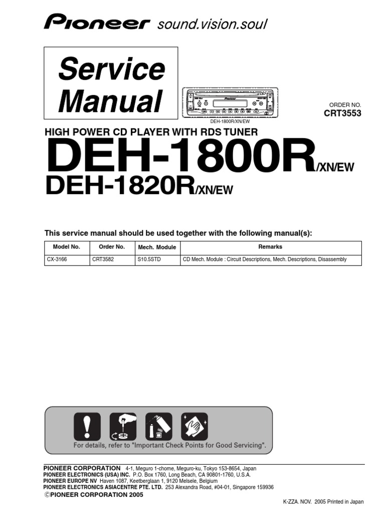 Pioneer DEH 1800R Service Manual | Electrical Connector | Electrical ...