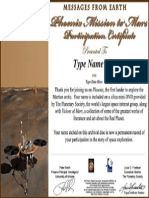 2008 Mars Phoenix Lander Certificate