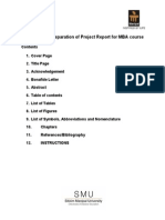 Template for Preparation of Project Report for MBA Course