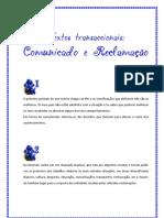 Textos transaccionais - comunicado e reclamação