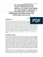 065 the Relationship Between Employees Perceptions of Organizational Culture and Their Behavioral Outcomes Assessing a Cognitive Process to in Role Performance Behavior and Intention to Leave