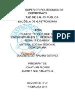 Investigacion Sobre La Cocina Ecuatoriana en Los Mercados de Riobamba