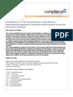 6-hr Virtual Seminar Latin America – Understanding Regulatory Compliance Requirements Across the Life Science Industry
