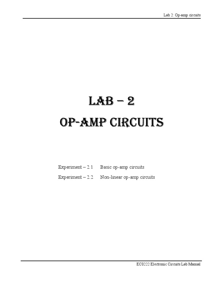 Amp Circuits Operational Amplifier Op