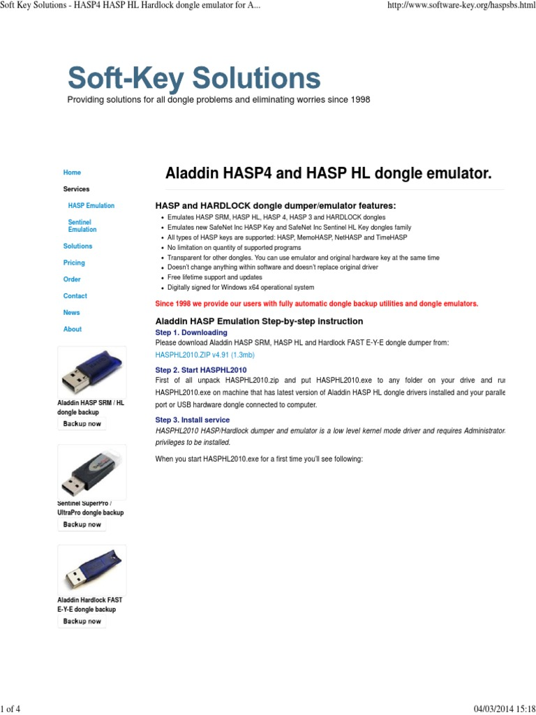 Soft Key Solutions - HASP4 HASP HL Hardlock Dongle Emulator for