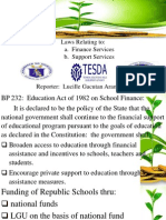 Laws relating to finance and support services of TESDA, CHED, Dep-Ed