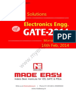 GATE 2014 Electronics Engineering Keys & Solution on 16th (Morning Session)