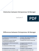 Distinction Between Entrepreneur & Manager