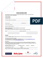 South Coast Business Awards 2014 Ticket Booking Form