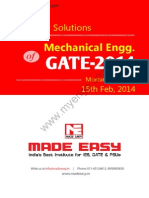 GATE 2014 Mechanical Engineering Keys & Solution on 15th (Morning Session)