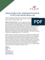 Islamic Finance in Ras Al Khaimah Presented by FAAIF Events and Ilovetheuae.com