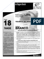 INSS Prova Cargo NM 18 Caderno Branco