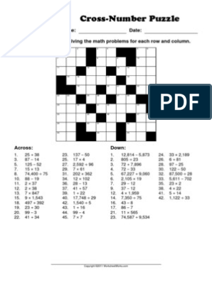 WorksheetWorks Cross-Number Puzzle 1 | Puzzles | Single ...