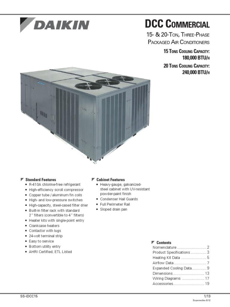 Daikin Dcc Wiring Diagram And Ebooks Mini Split Brand 15 20 Ton Cooling Pkg Air Conditioning Mechanical Fan Rh Scribd Com Heatcraft Diagrams