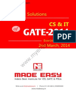 GATE 2014 Computer Science Engineering  / Information Technology Keys & Solution on 2nd March (Evening Session)