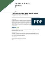 Rsr 369-84-1 l Ivresse de La Vie Selon Michel Henry