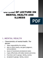 Outline of Lecture on Mental Health and Illness