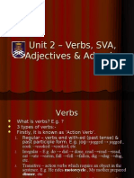 Unit 2 – Verbs, SVA, Adjectives