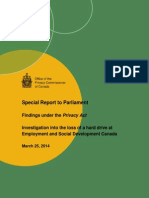 Privacy Commissioner's report into student loan harddrive loss.