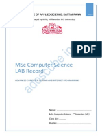 MSc Computer Science 1st Semester Lab record in Internet Programming