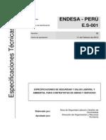 ES 001 Especificaciones de Seguridad y Salud Laboral y Ambiental Para Contratistas de Obras y Servicios