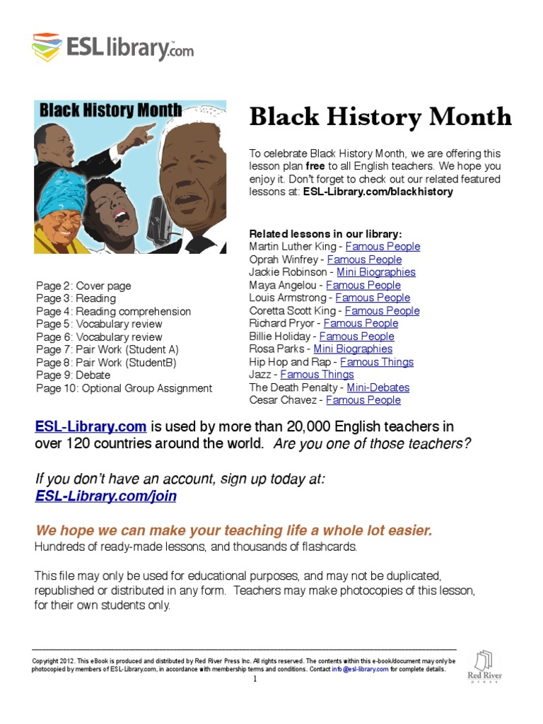 Black History ESL Library Lesson Plan   African American History ...
