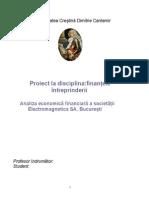 proiect la finanţe