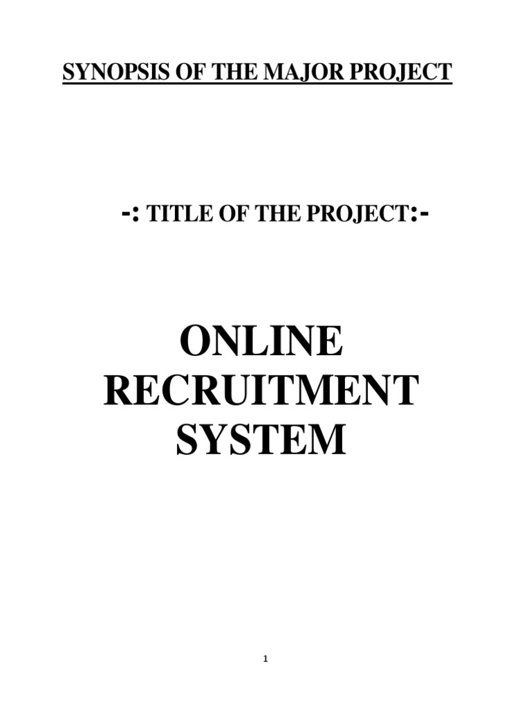 Synopsis of the major project online recruitment system synopsis of the major project online recruitment system recruitment active server pages ccuart Image collections
