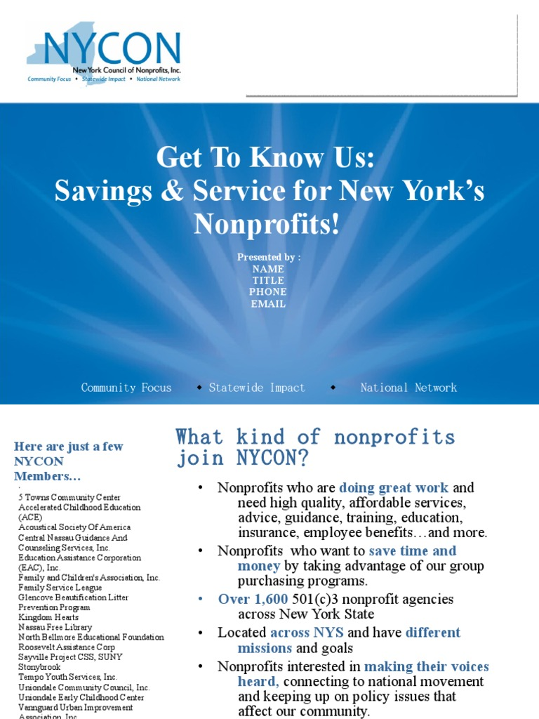 Get To Know Us Savings Service For New York S Nonprofit