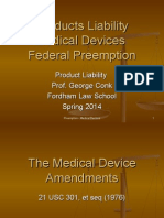 Preemption of Medical Devices under Riegel v. Medtronic