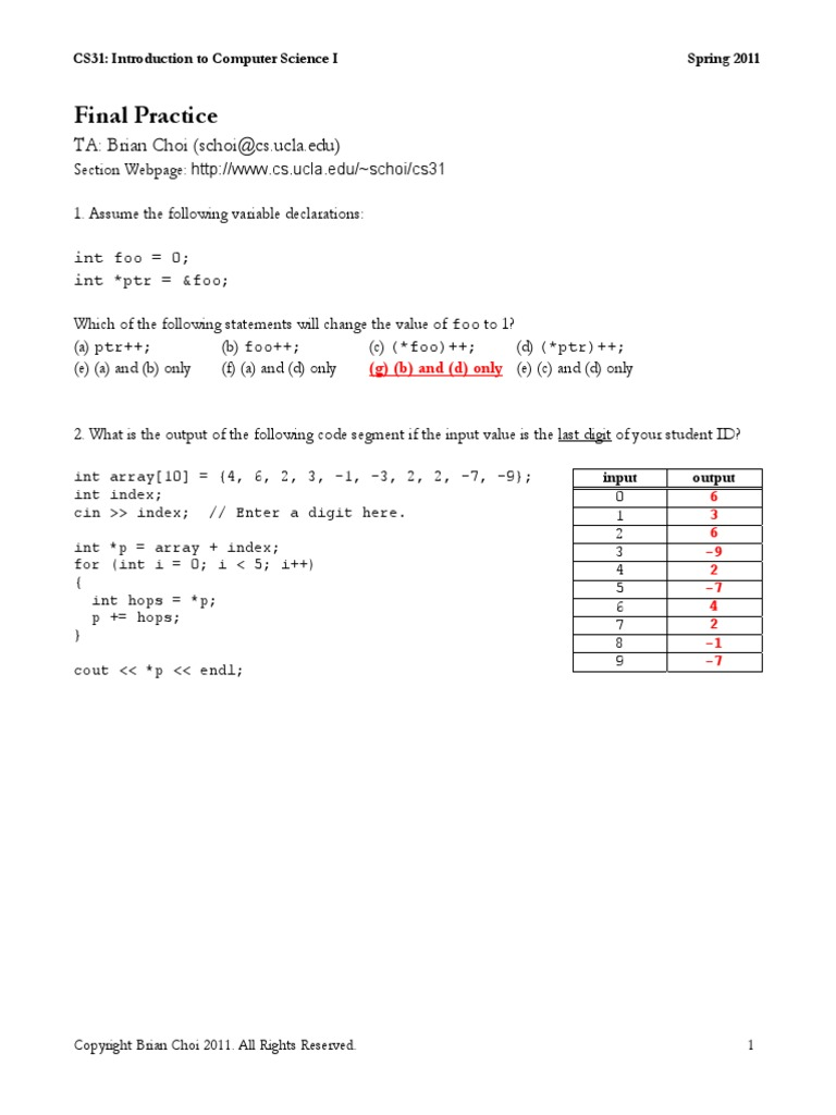 UCLA CS 31 Practice Final | Areas Of Computer Science | Computer