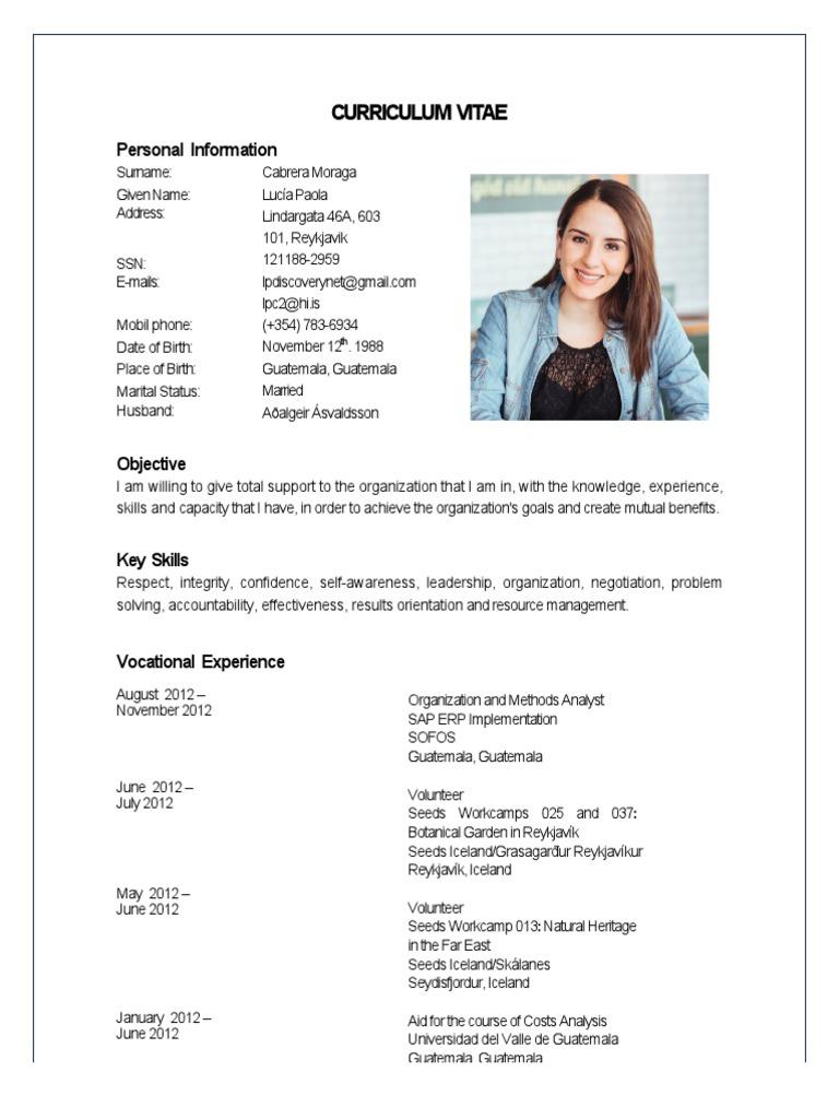 Curriculum Vitae Lucia Cabrera 2014 Guatemala Software