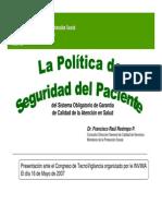 La Politica de Seguridad Del Paciente, 2007