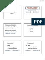 Summary of Statistics II