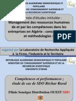 Compétences et performances;étude de cas de SDO béchar  Rural