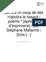 Un coup de dés-Pruebas de imprenta de S. MAllarmé