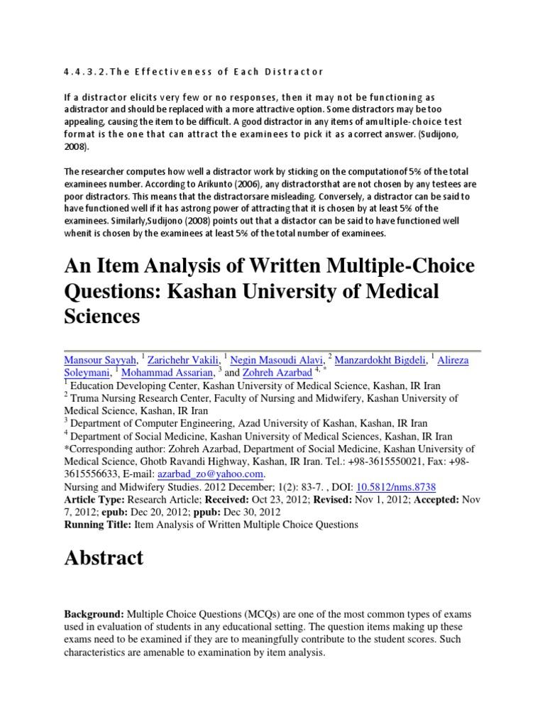 Journal an Item Analysis of Written Multiple | Multiple