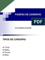 PADRÃO DE CARDÁPIO