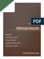 Pemeriksaan Manajemen - Pengenalan, Pemasaran, Pengelolaan Tugas, dan Mutu
