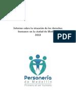 Personería Medellín 2013, Informe DDHH