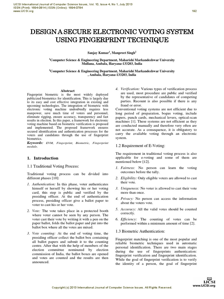 e voting by using biometrics International journal of computer applications (0975 – 8887) volume 83 – no 14, december 2013 10 e-voting system using multimode.