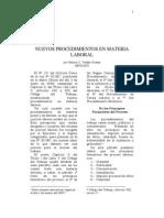 LOS NUEVOS  PROCEDIMIENTOS EN  MATERIA LABORAL Artículo Nelson Valdes G